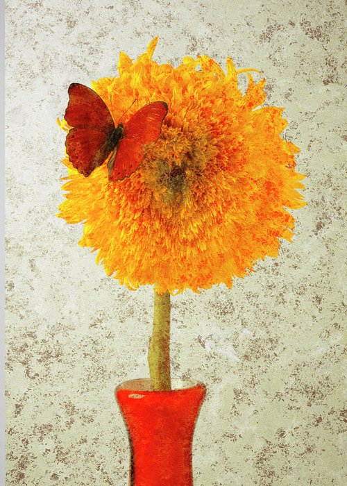 Red Butterfly Sunflower Yellow Abstract Greeting Card featuring the photograph Sunflower And Red Butterfly by Garry Gay