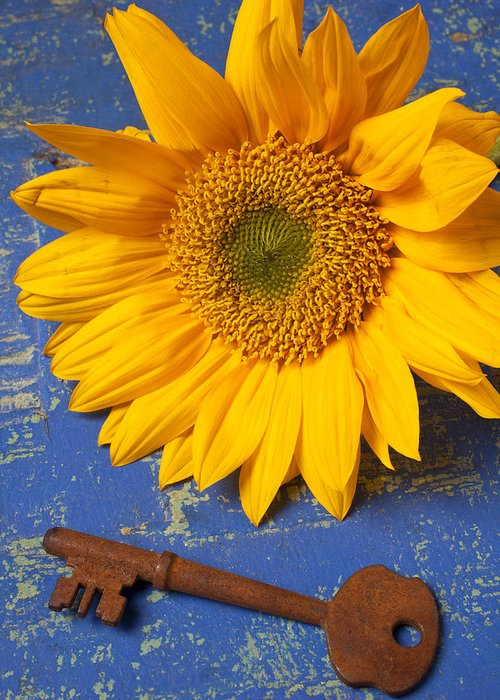 Sunflower Greeting Card featuring the photograph Sunflower And Skeleton Key by Garry Gay