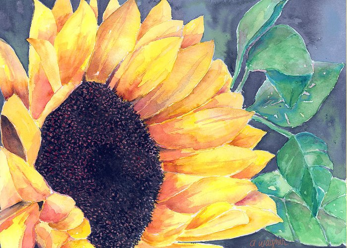 Sunflower Greeting Card featuring the painting Sunflower by Arline Wagner