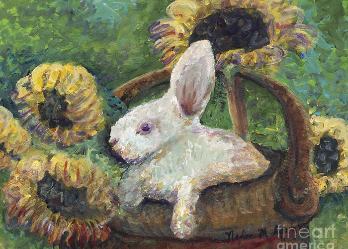 Sunflowers Greeting Card featuring the painting Sunflower Basket Surprise by Nadine Rippelmeyer