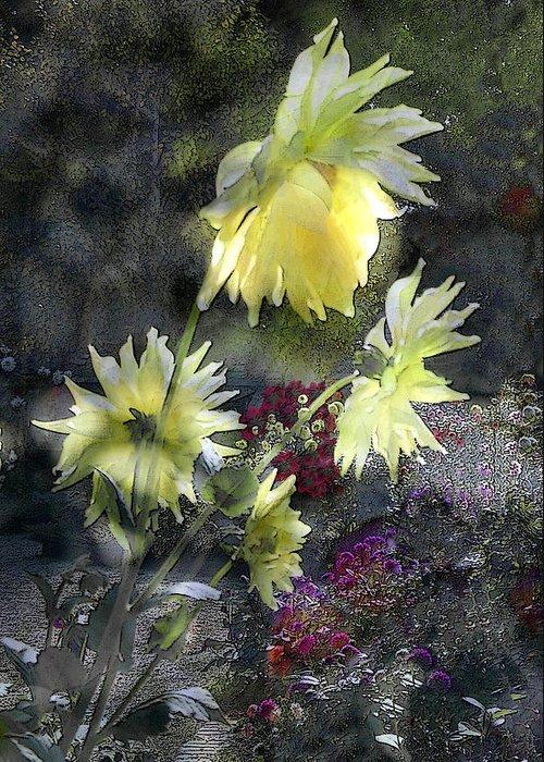 Sun Flower Greeting Card featuring the digital art Sunflower Dream by Tom Romeo