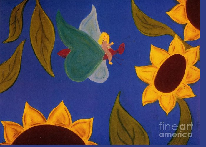Landscape Greeting Card featuring the pastel Sunflower Flight by Christine Crosby