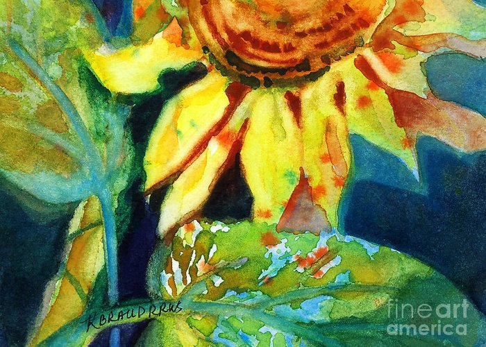 Painting Greeting Card featuring the painting Sunflower Head 4 by Kathy Braud