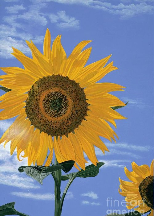 Sunflower Greeting Card featuring the painting Sunflower by Jiji Lee