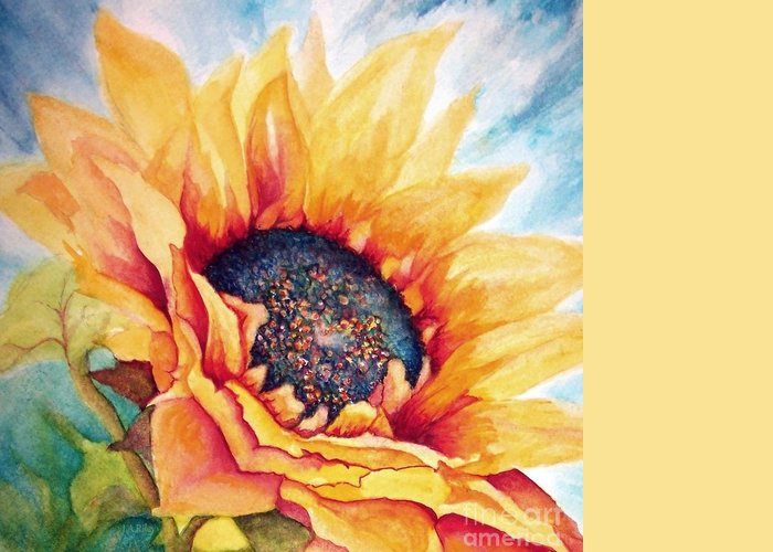 Sunflower Greeting Card featuring the painting Sunflower Joy by Janine Riley