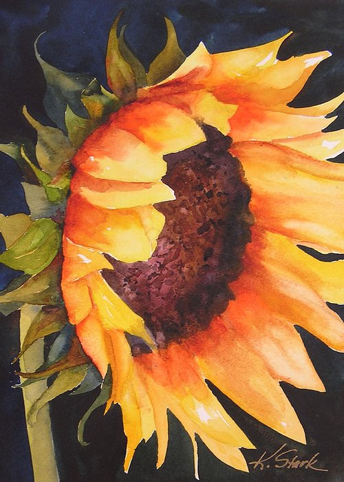 Floral Greeting Card featuring the painting Sunflower by Karen Stark