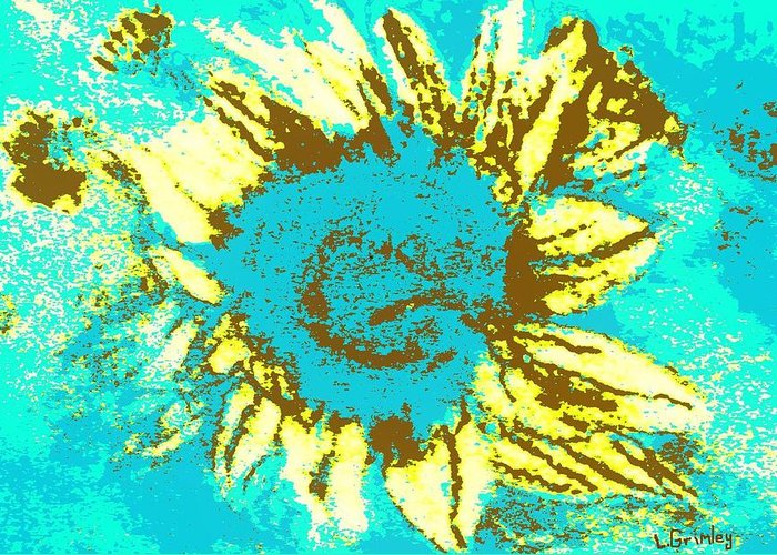 Flower Greeting Card featuring the mixed media Sunflower by Lessandra Grimley