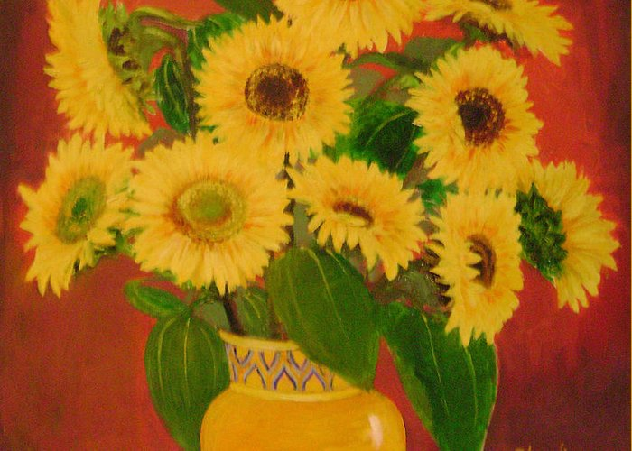 Floral Greeting Card featuring the painting Sunflower by Lian Zhen