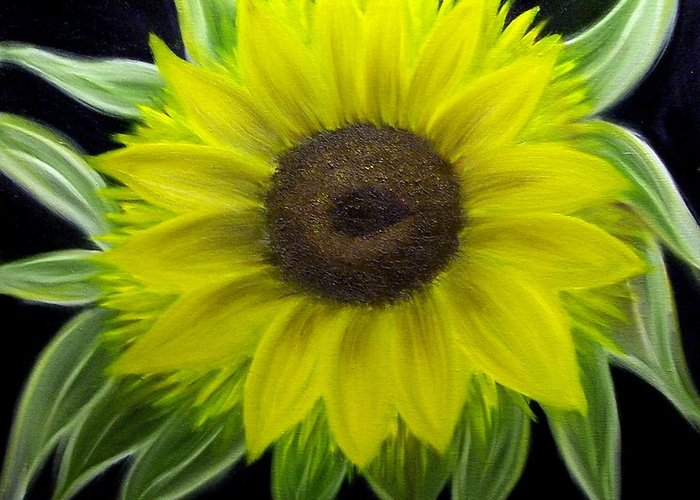 Floral Greeting Card featuring the painting Sunflower by Marie Lamoureaux