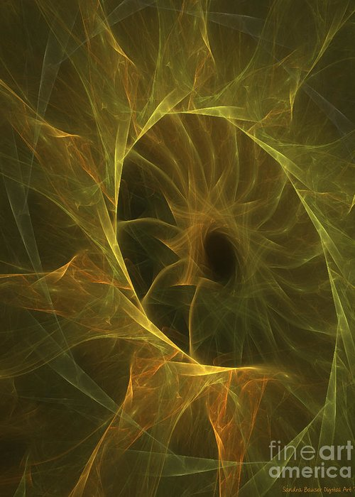 Digital Greeting Card featuring the digital art Sunflower Nebula by Sandra Bauser Digital Art