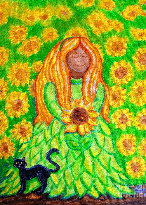 Sunflower Princess Greeting Card featuring the painting Sunflower Princess by Nick Gustafson