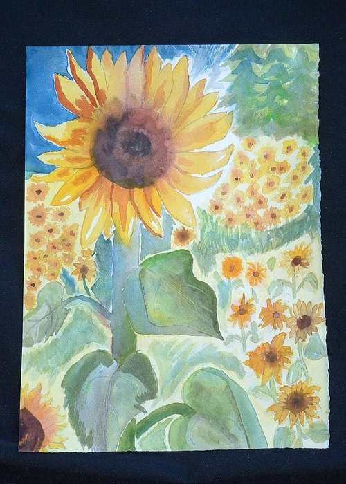 Sunflowers Greeting Card featuring the painting Sunflower Sea by Margaret G Calenda