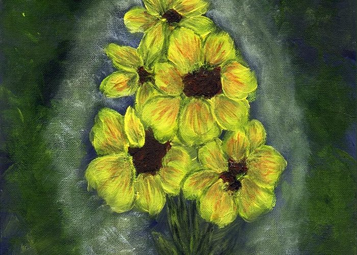 Flowers Greeting Card featuring the painting Sunflower Season - Www.jennifer-d-art.com by Jennifer Skalecke
