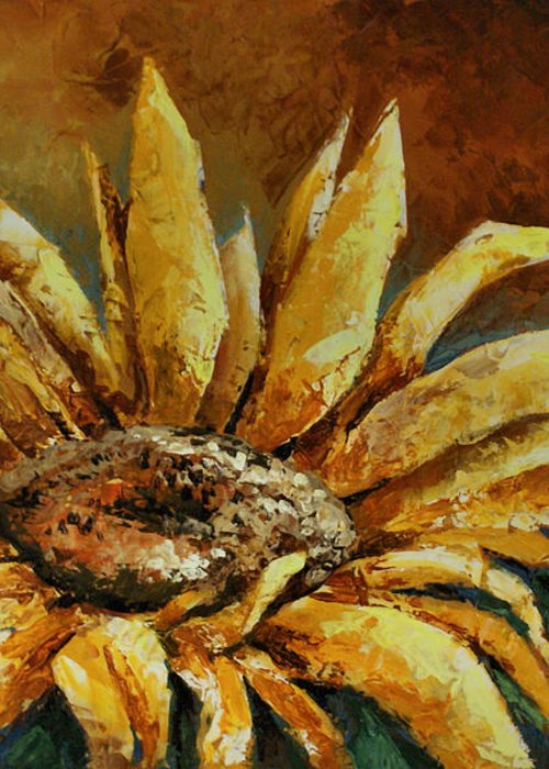 Floral Greeting Card featuring the painting Sunflower Study by Michael Lang