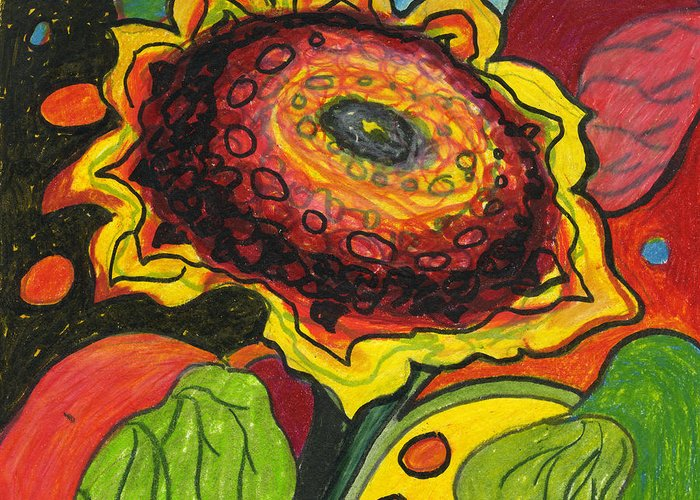 Sunflower Greeting Card featuring the drawing Sunflower Surprise by Jennifer Lommers