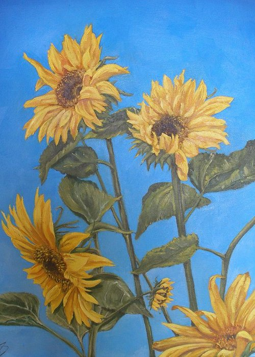 Sunflower Greeting Card featuring the painting Sunflower by Travis Day