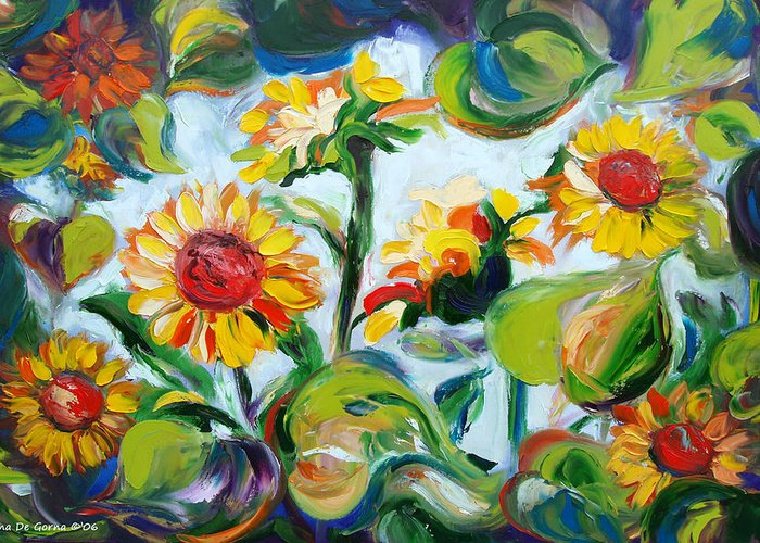 Sunflowers Greeting Card featuring the painting Sunflowers 3 by Gina De Gorna