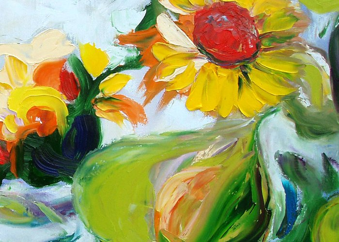 Flowers Greeting Card featuring the painting Sunflowers 7 by Gina De Gorna