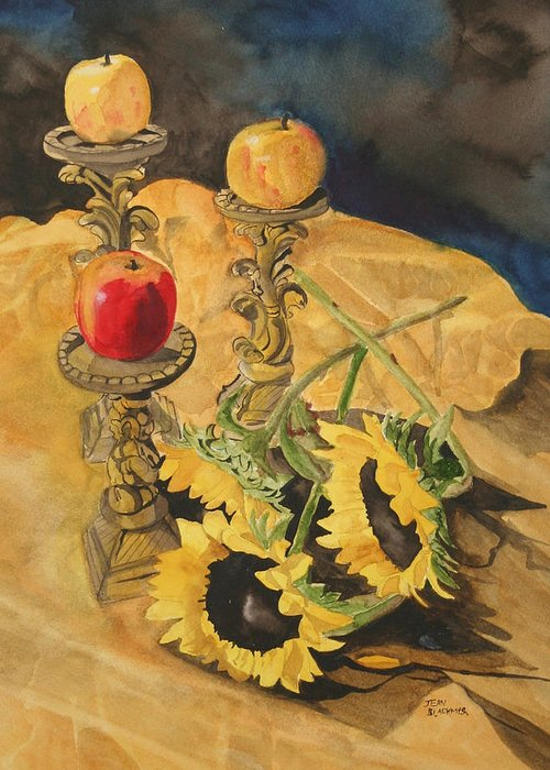 Still Life Greeting Card featuring the painting Sunflowers And Apples by Jean Blackmer