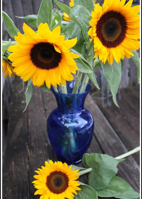 Sunflowers Greeting Card featuring the photograph Sunflowers And Blue Vase - Still Life by Dora Sofia Caputo Photographic Design and Fine Art