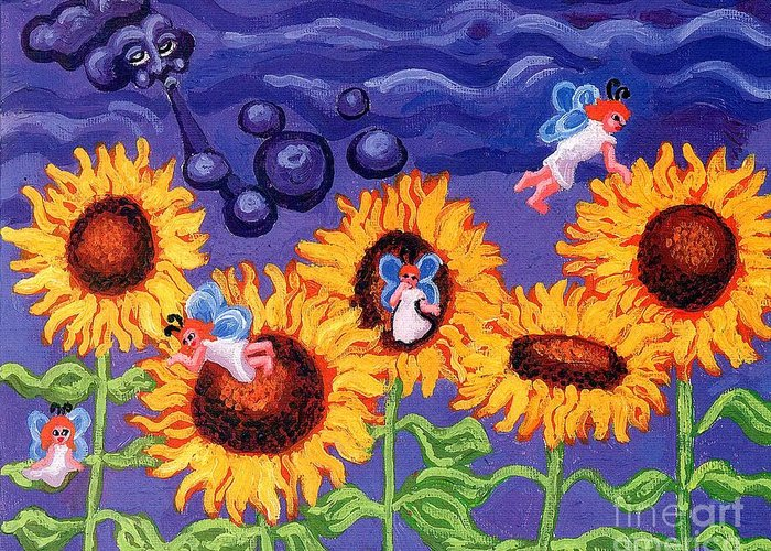 Sunflower Greeting Card featuring the painting Sunflowers And Faeries by Genevieve Esson