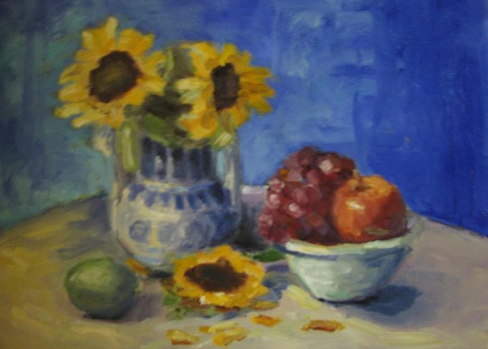 Still Life Greeting Card featuring the painting Sunflowers And Fruit by Sharon Franke