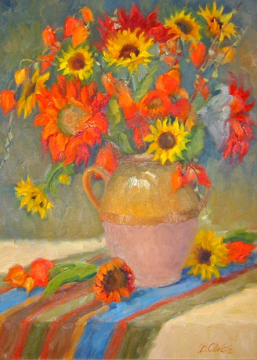 Sunflowers Greeting Card featuring the painting Sunflowers And More by Bunny Oliver