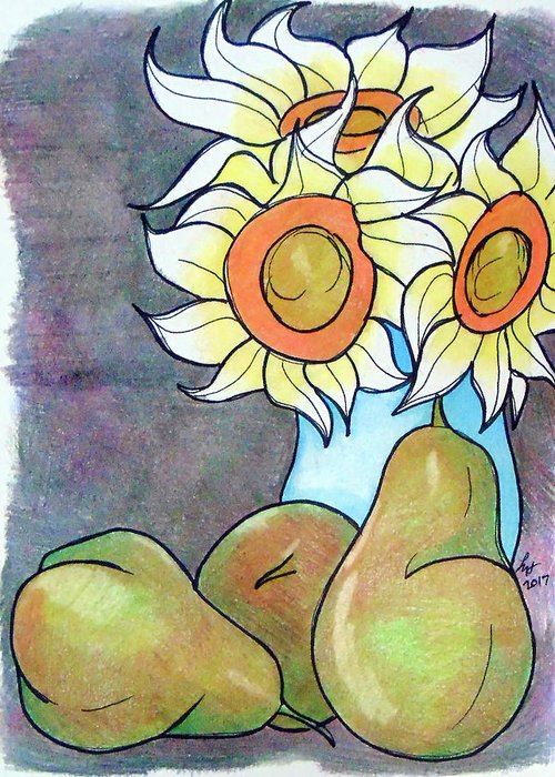 Sunflowers Greeting Card featuring the drawing Sunflowers And Pears by Loretta Nash