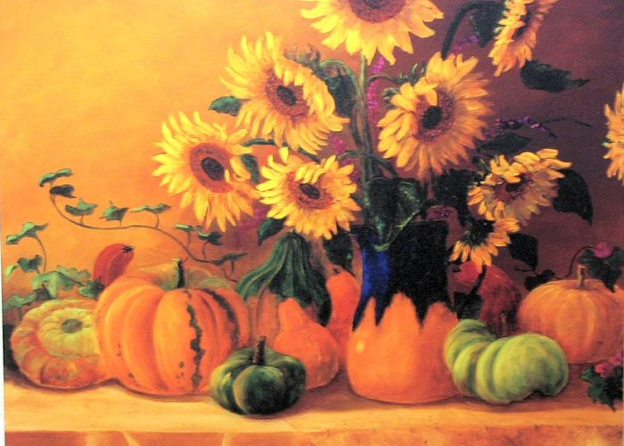 Sunflowers Greeting Card featuring the painting Sunflowers And Squash by Jeanene Stein