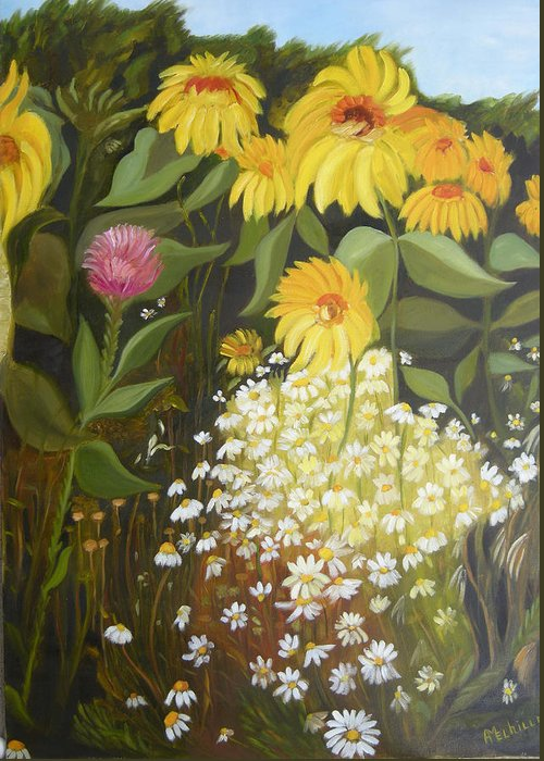 Landskape Greeting Card featuring the painting Sunflowers by Antoaneta Melnikova- Hillman