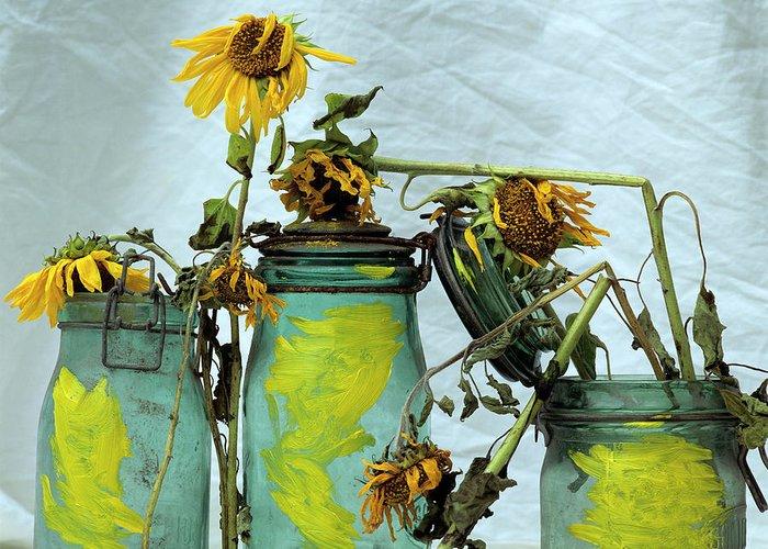 Yellow Greeting Card featuring the photograph Sunflowers by Bernard Jaubert