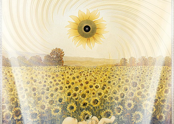Symbolic Digital Art Greeting Card featuring the digital art Sunflowers by Harald Dastis
