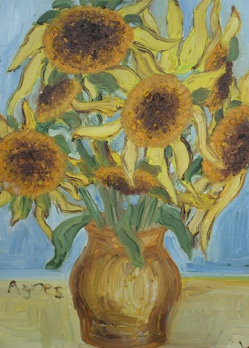 Flowers Greeting Card featuring the painting Sunflowers II. by Agnes V
