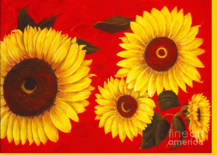 Flowers Greeting Card featuring the painting Sunflowers IIi by Mary Erbert