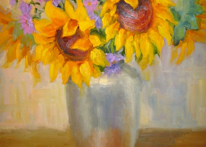 Sunflowers Greeting Card featuring the painting Sunflowers In A Silver Vase by Bunny Oliver