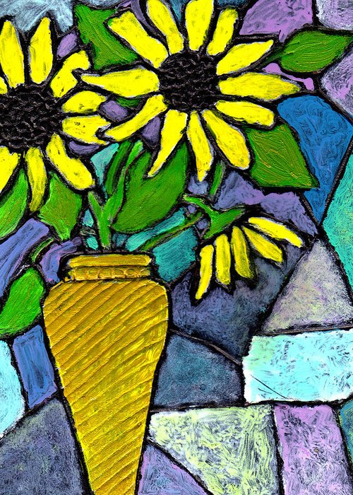 Flowers Greeting Card featuring the painting Sunflowers in a Vase by Wayne Potrafka