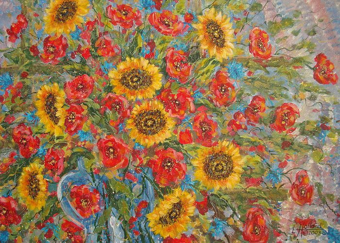 Flowers Greeting Card featuring the painting Sunflowers In Blue Pitcher. by Leonard Holland