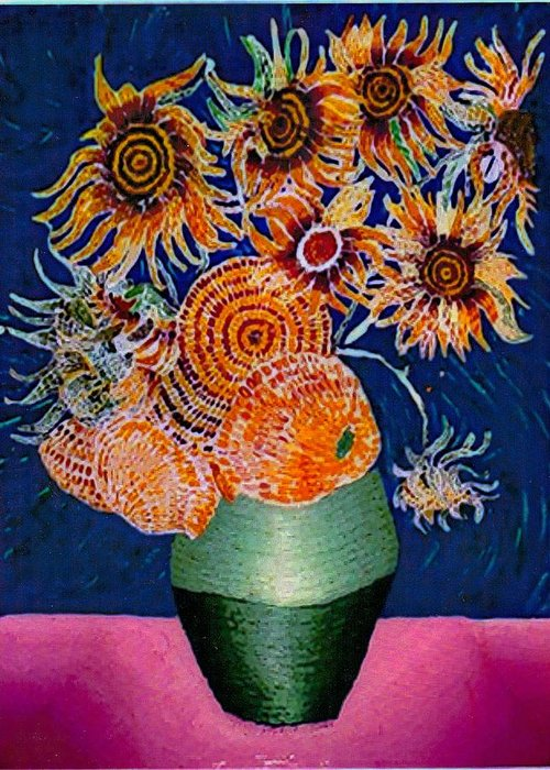 Still Life Greeting Card featuring the painting Sunflowers In Green Vase by Brenda Adams