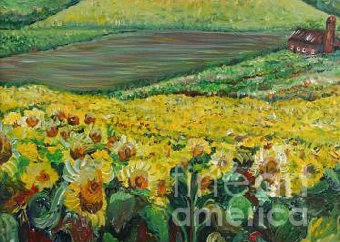 A Field Of Yellow Sunflowers Greeting Card featuring the painting Sunflowers In Provence by Nadine Rippelmeyer