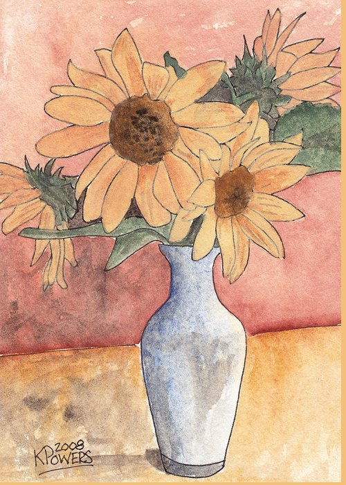 Sunflower Greeting Card featuring the painting Sunflowers In Vase Sketch by Ken Powers