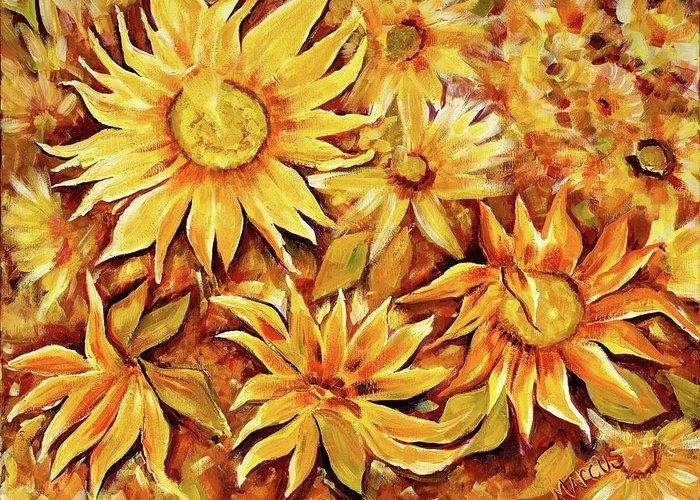 Sunflowers Greeting Card featuring the painting Sunflowers by Leslie Marcus