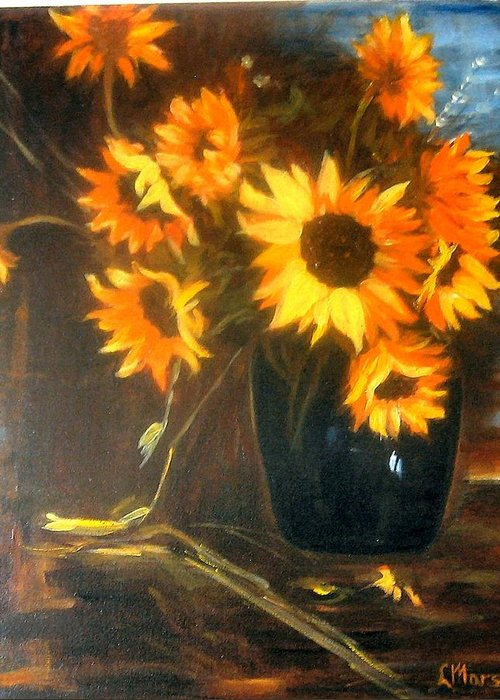 Flowers Greeting Card featuring the painting Sunflowers by Lia Marsman