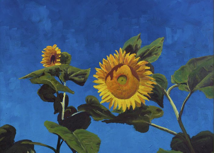 Sun Greeting Card featuring the painting Sunflowers by Marco Busoni