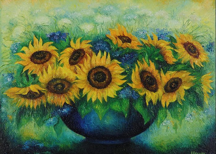 Flowers Greeting Card featuring the painting Sunflowers No 1. by Evgenia Davidov