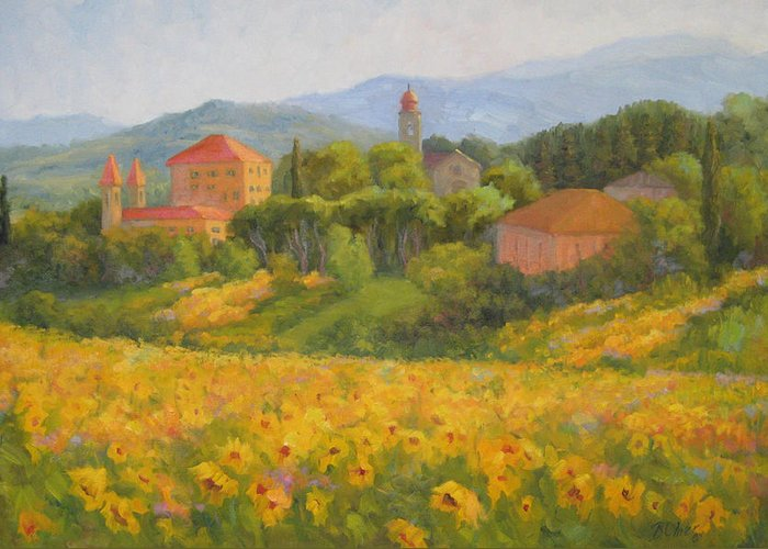 Tuscany Greeting Card featuring the painting Sunflowers Of Tuscany by Bunny Oliver
