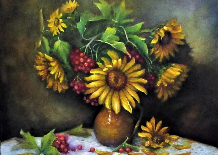 Berries Greeting Card featuring the painting Sunflowers oil canvas painting by Natalja Picugina