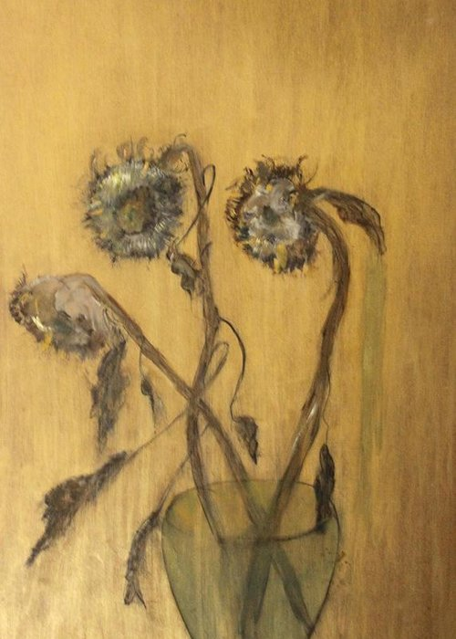 Floral Greeting Card featuring the painting Sunflowers On Gold by Michela Akers