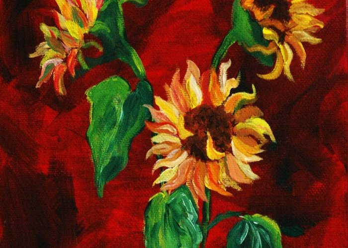 Flowers Greeting Card featuring the painting Sunflowers On Rojo by Melinda Etzold