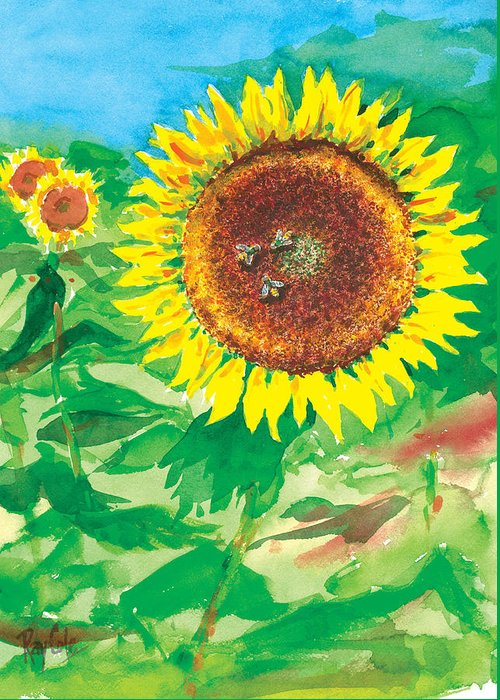Sunflowers Greeting Card featuring the painting Sunflowers by Ray Cole