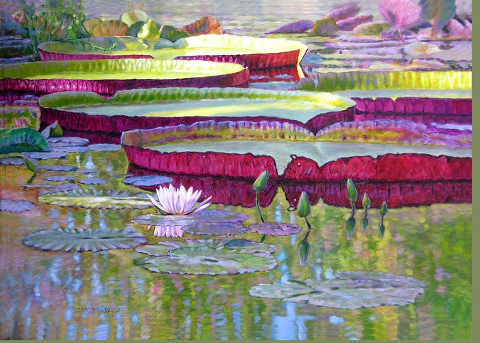 Lily Pond Greeting Card featuring the painting Sunlight On Lily Pads by John Lautermilch